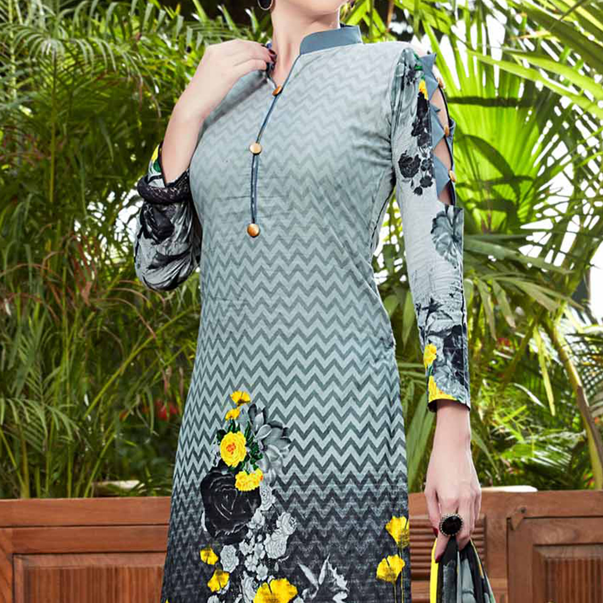 Grey Printed Cotton Dress Material