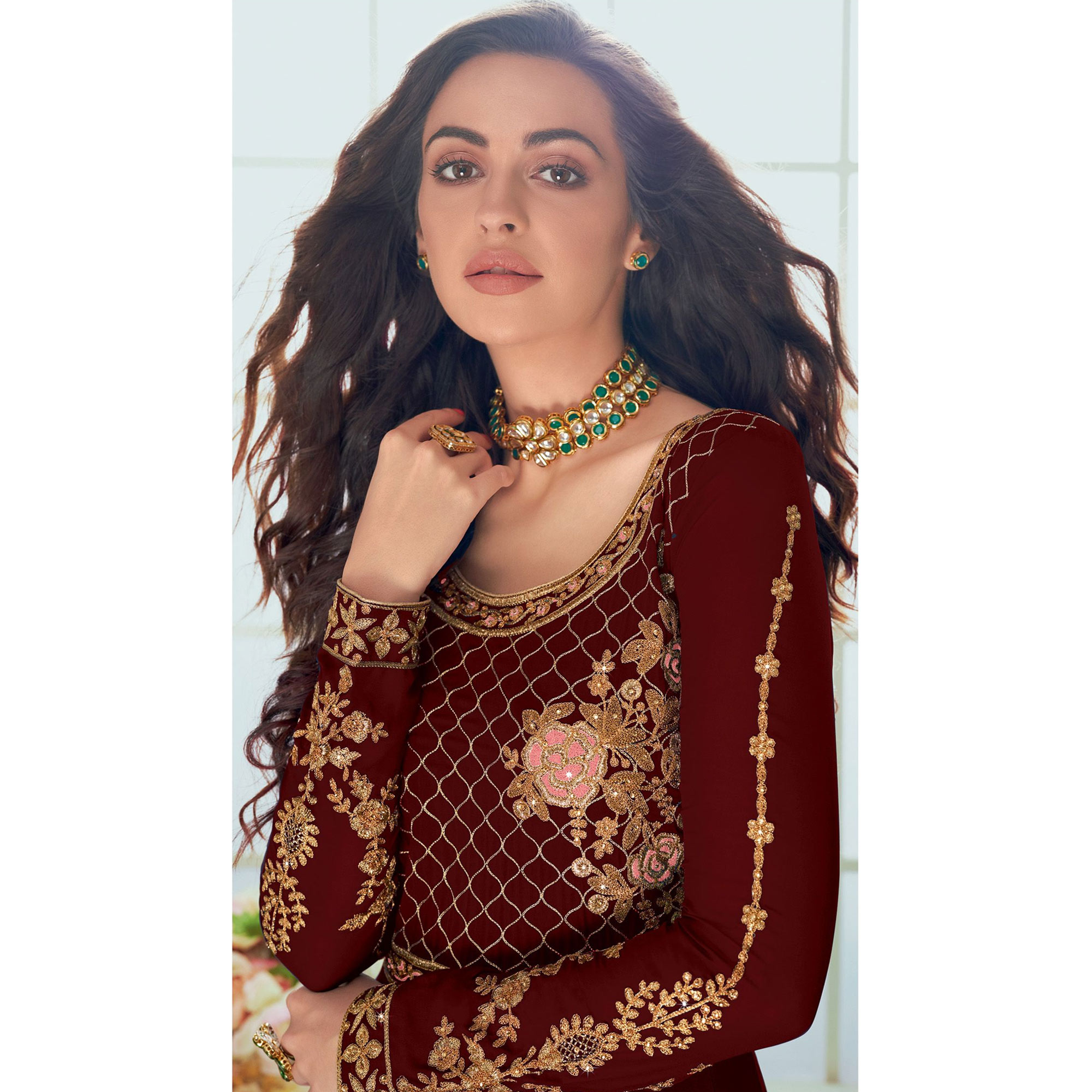 Capricious Maroon Colored Partywear Embroidered Georgette Abaya Style Anarkali Suit