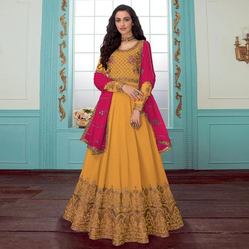 Entrancing Dark Yellow Colored Partywear Embroidered Georgette Abaya Style Anarkali Suit