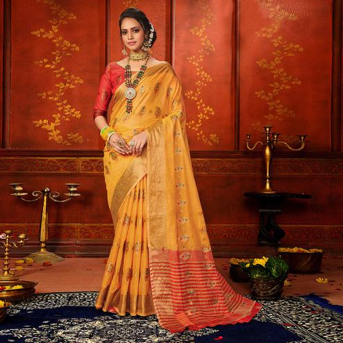 Graceful Yellow Colored Festive Wear Woven Art Silk Saree