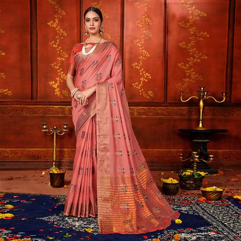 Blooming Pink Colored Festive Wear Woven Art Silk Saree