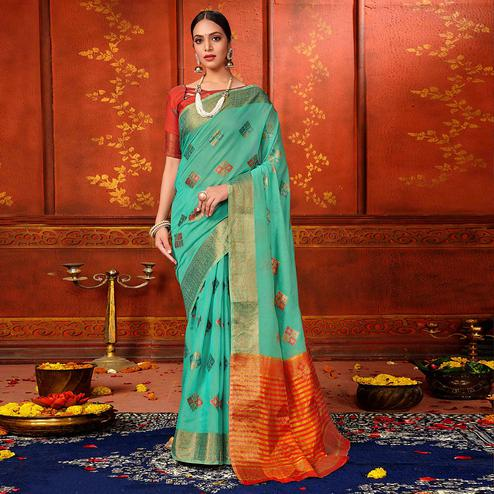 Charming Sky Blue Colored Festive Wear Woven Art Silk Saree