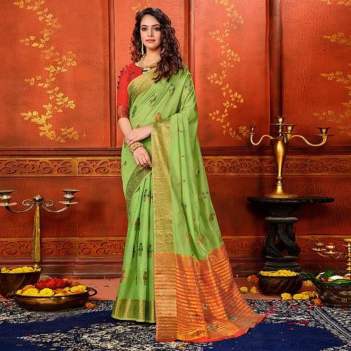 Jazzy Pista Green Colored Festive Wear Woven Art Silk Saree