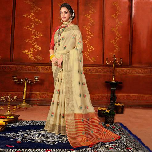 Delightful Beige Colored Festive Wear Woven Art Silk Saree