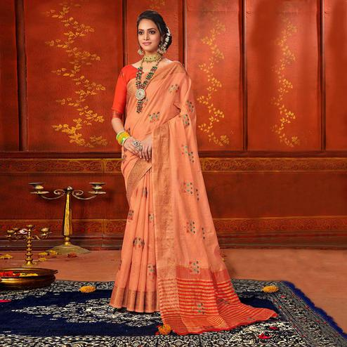 Engrossing Peach Colored Festive Wear Woven Art Silk Saree