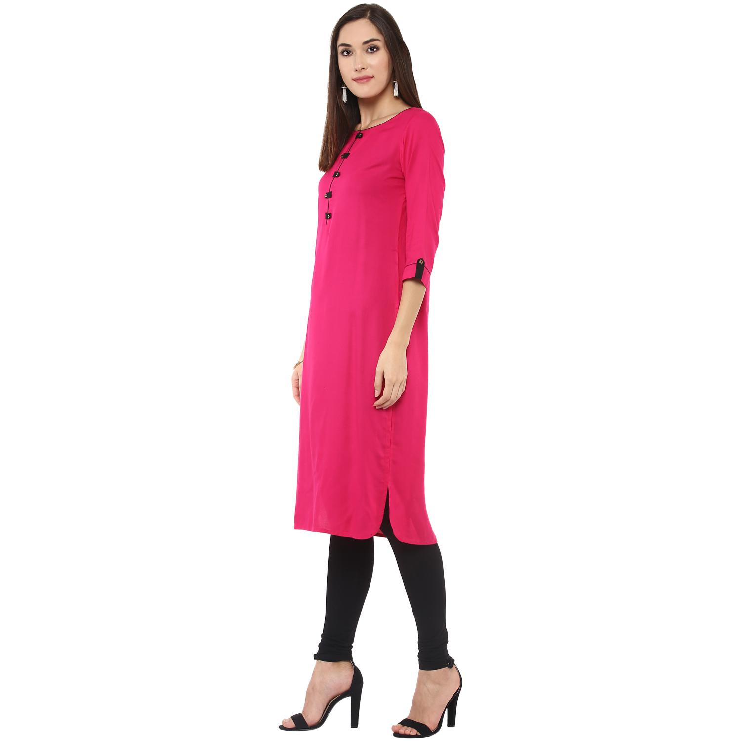Jazzy Magenta Pink Colored Casual Wear Solid Rayon Long Kurti