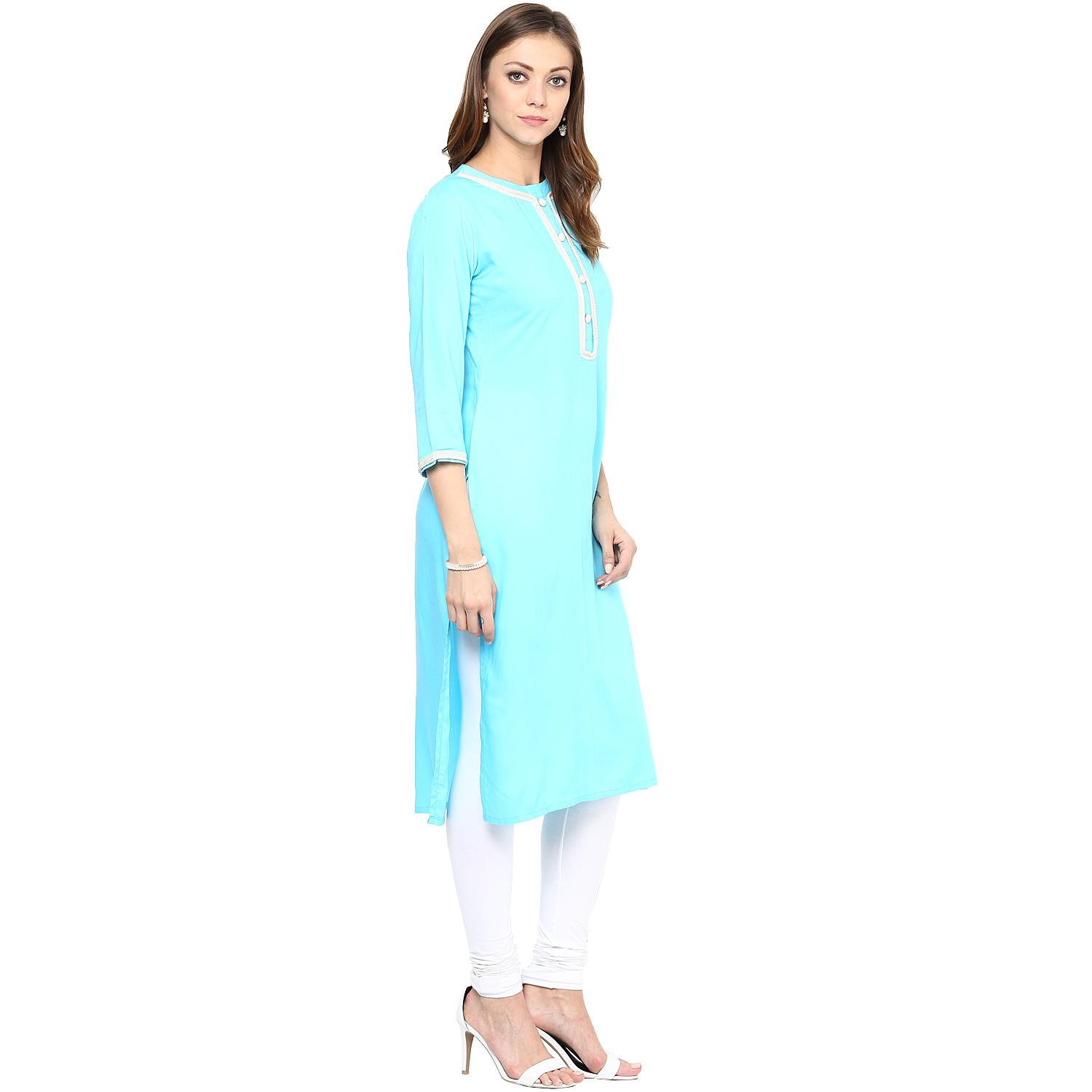 Delightful Blue Colored Casual Wear Solid Rayon Long Kurti