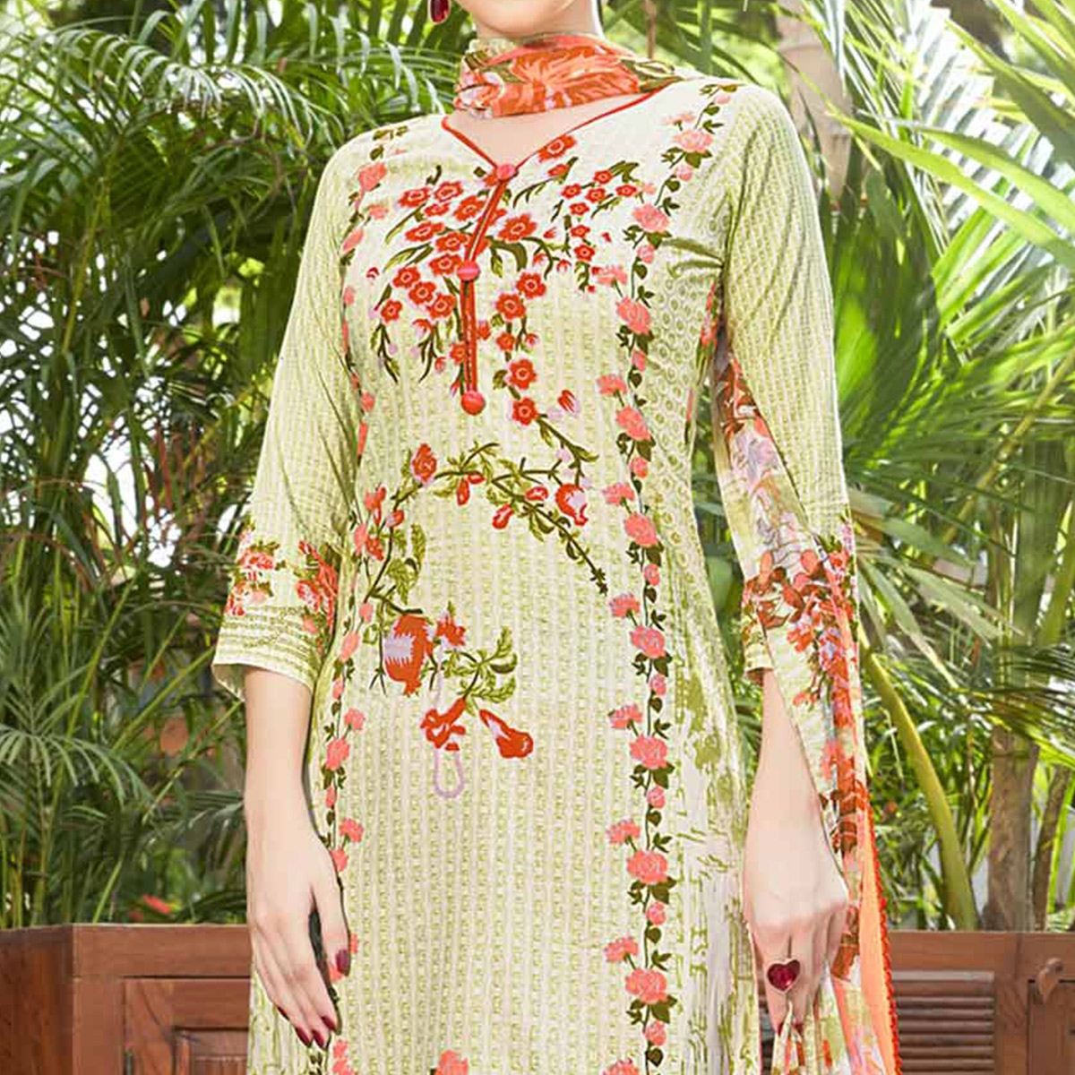 Light Green Printed Cotton Dress Material