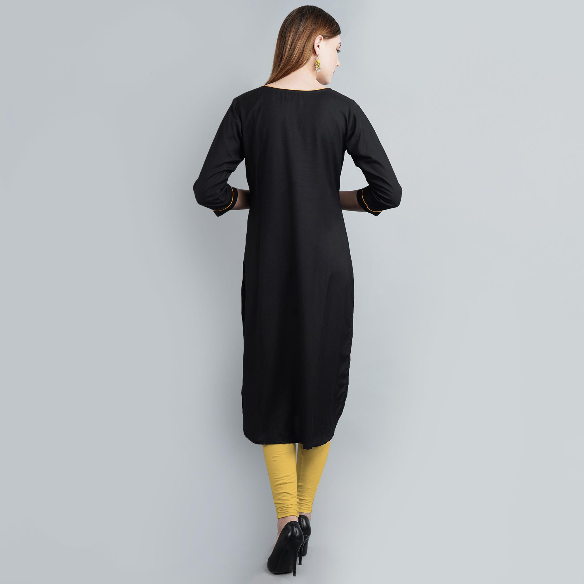 Engrossing Black Colored Casual Wear Solid Rayon Long Kurti
