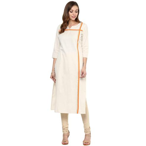 Amazing Cream Colored Casual Wear Stripe Printed Cotton Kurti