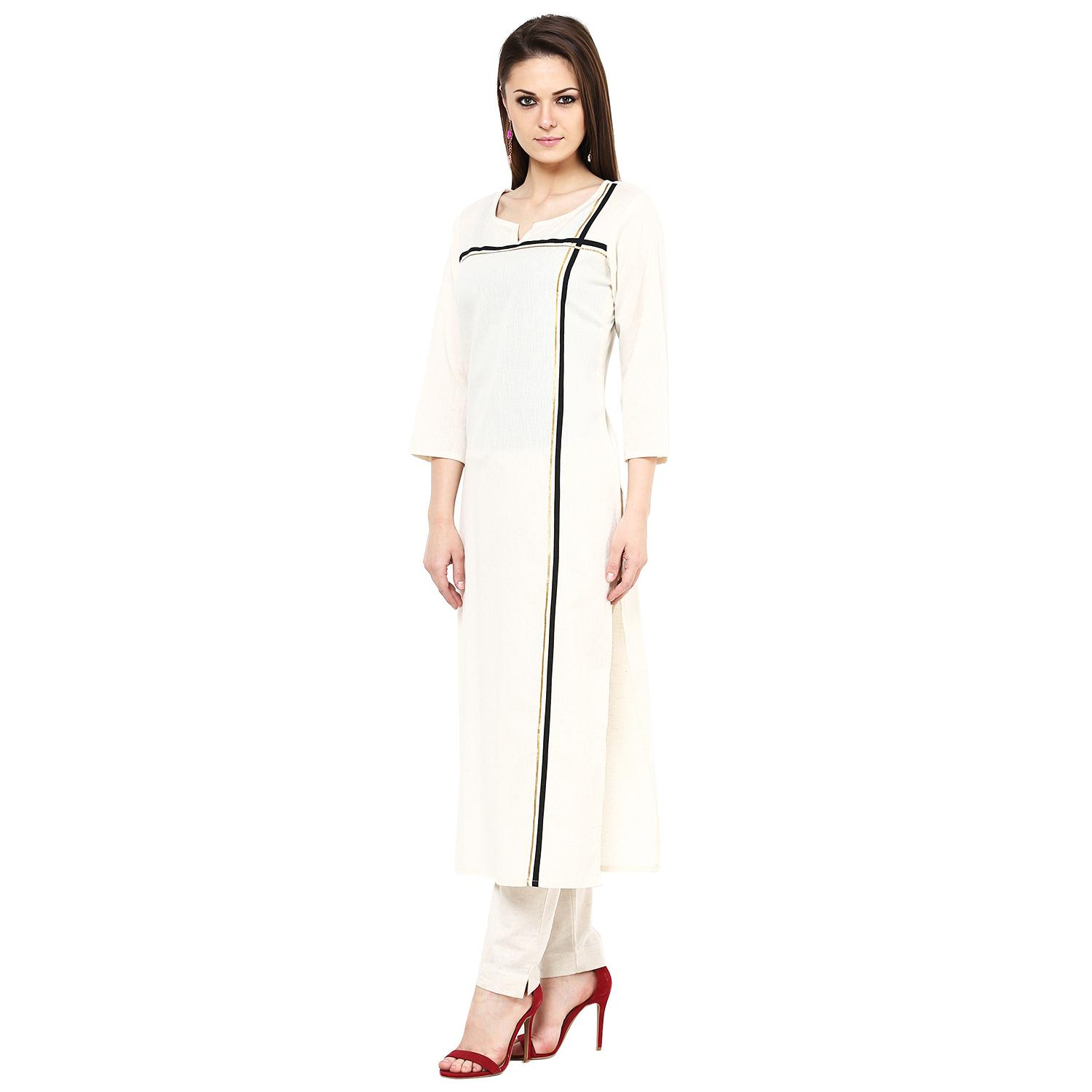 Gorgeous Cream Colored Casual Wear Stripe Printed Cotton Kurti
