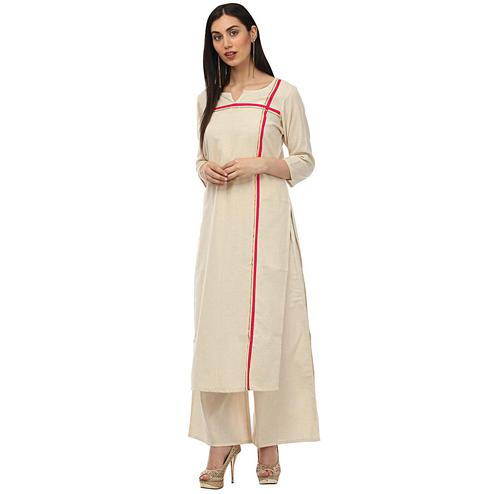 Ideal Cream Colored Casual Wear Stripe Printed Cotton Kurti