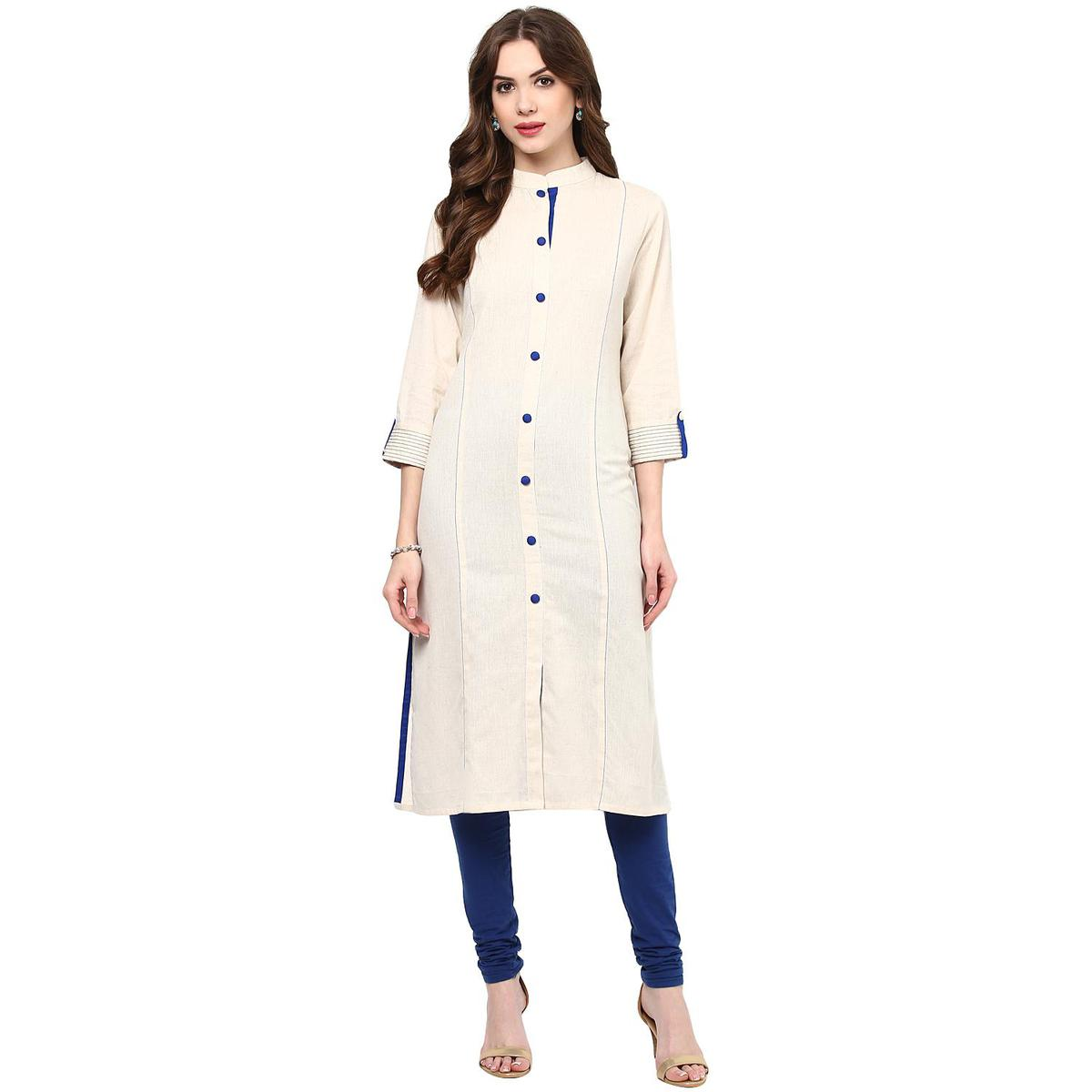 Lovely Off White Colored Casual Wear Solid Cotton Kurti