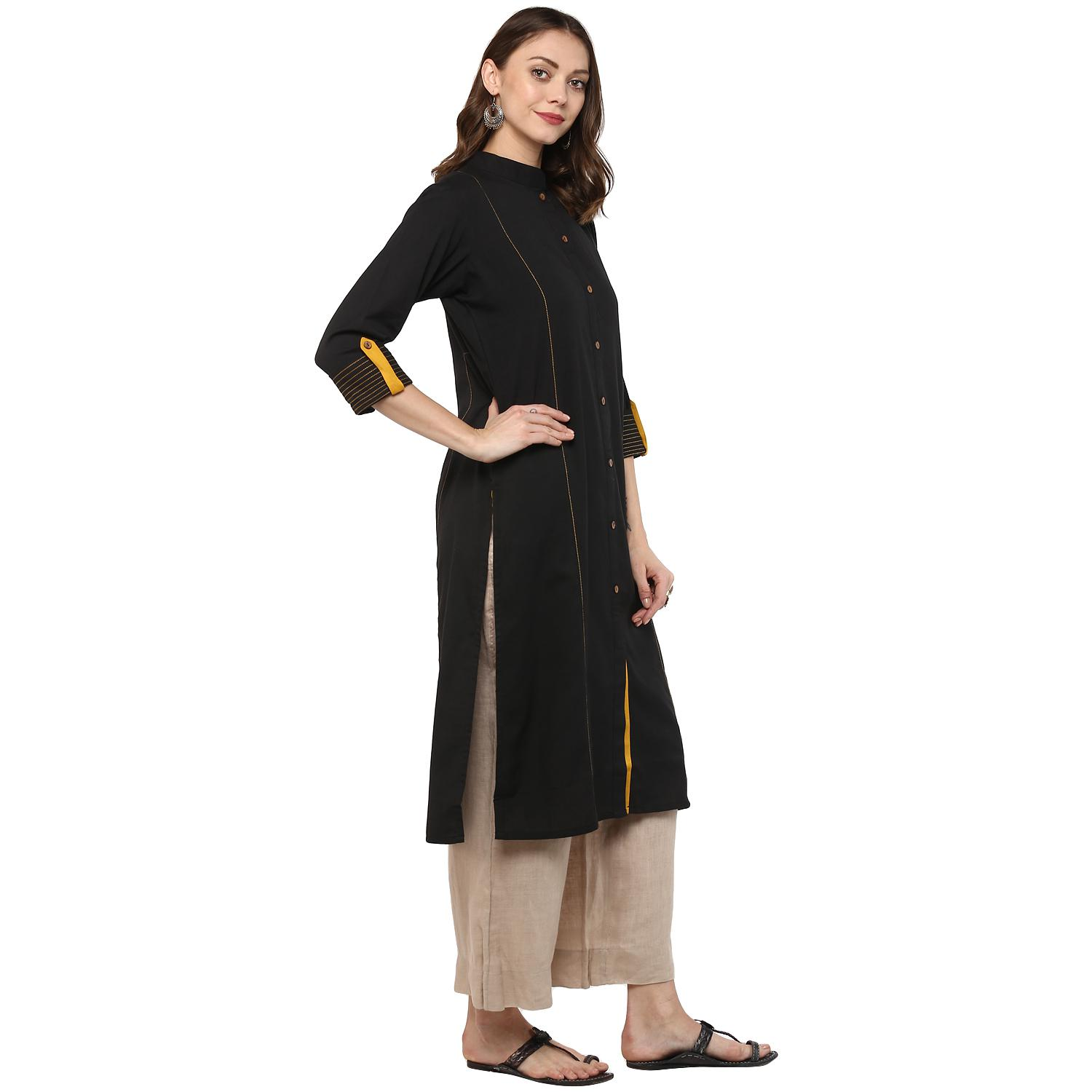 Majesty Black Colored Casual Wear Solid Cotton Kurti