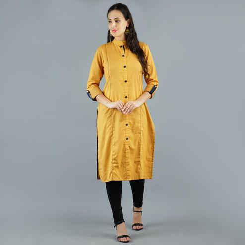 Impressive Mustard Yellow Colored Casual Wear Solid Cotton Kurti