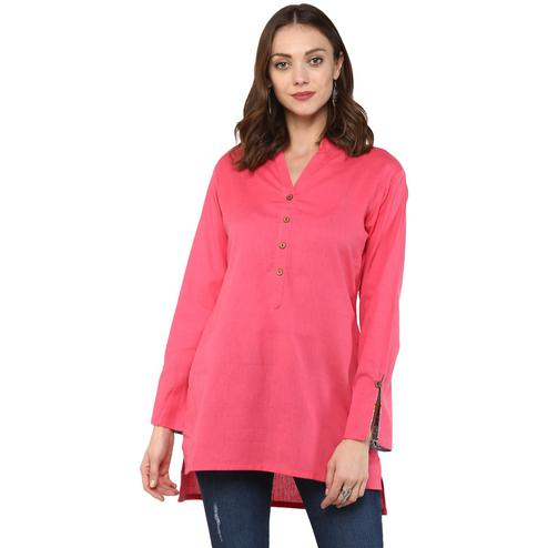 Refreshing Pink Colored Casual Wear Solid Cotton Top