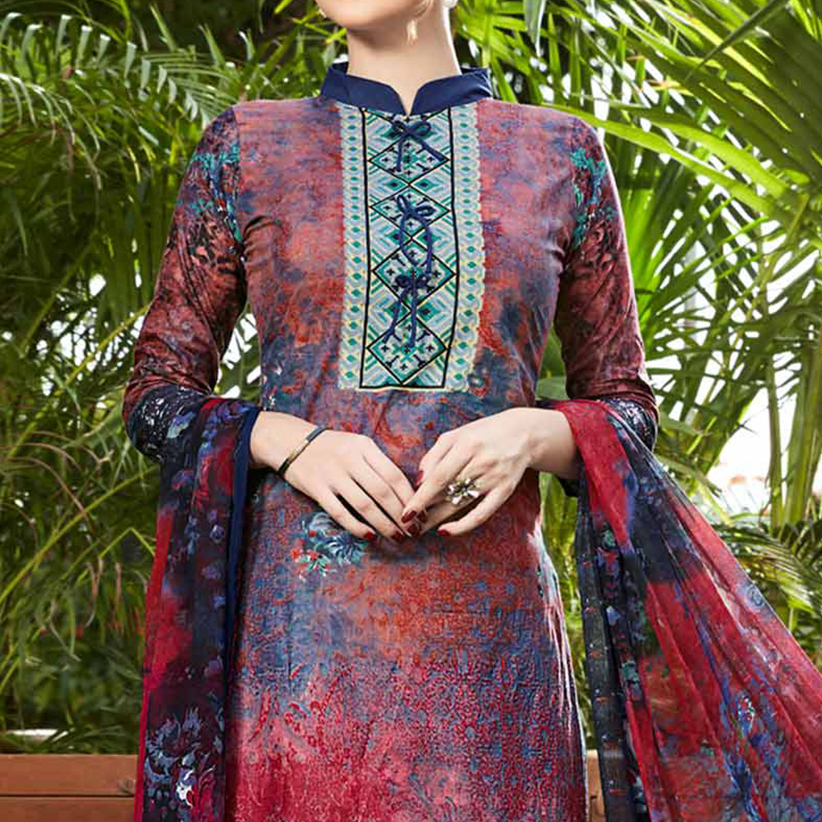 Blue - Red Printed Cotton Dress Material