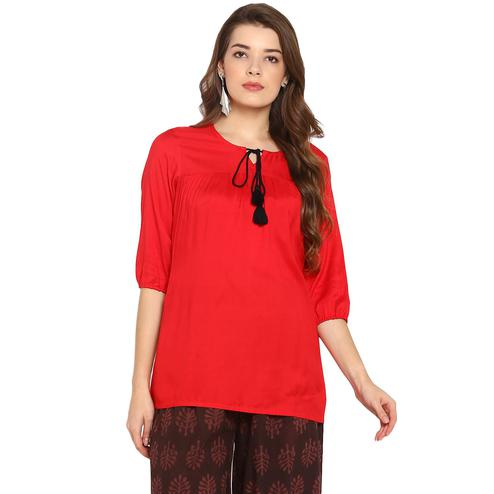 Magnetic Red Colored Casual Wear Solid Rayon Top
