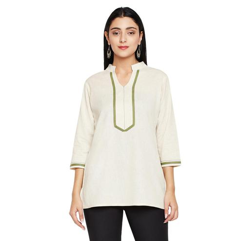 Excellent Cream Colored Casual Wear Solid Cotton Top