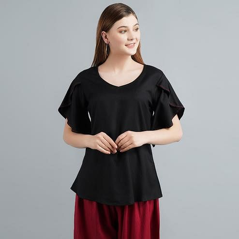 Pretty Black Colored Casual Wear Solid Rayon Top