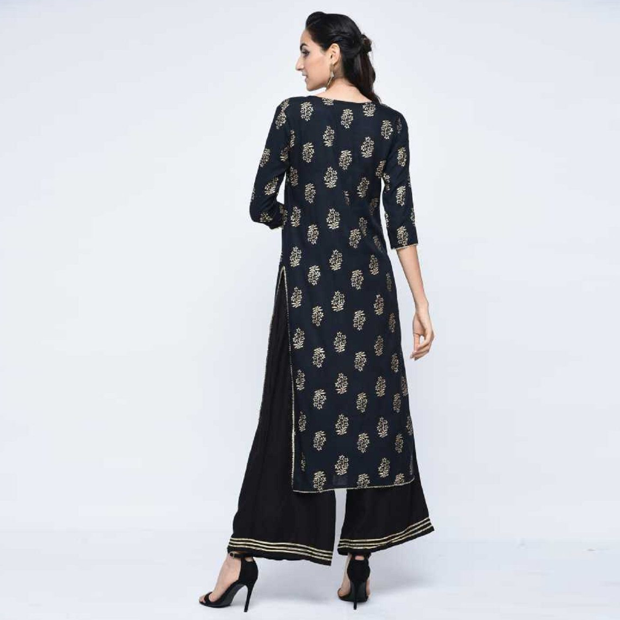 Adorable Black Colored Casual Wear Printed Straight Calf Length Rayon Kurti