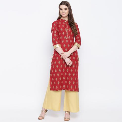 Beautiful Maroon Colored Casual Wear Printed Straight Calf Length Cambric Kurti