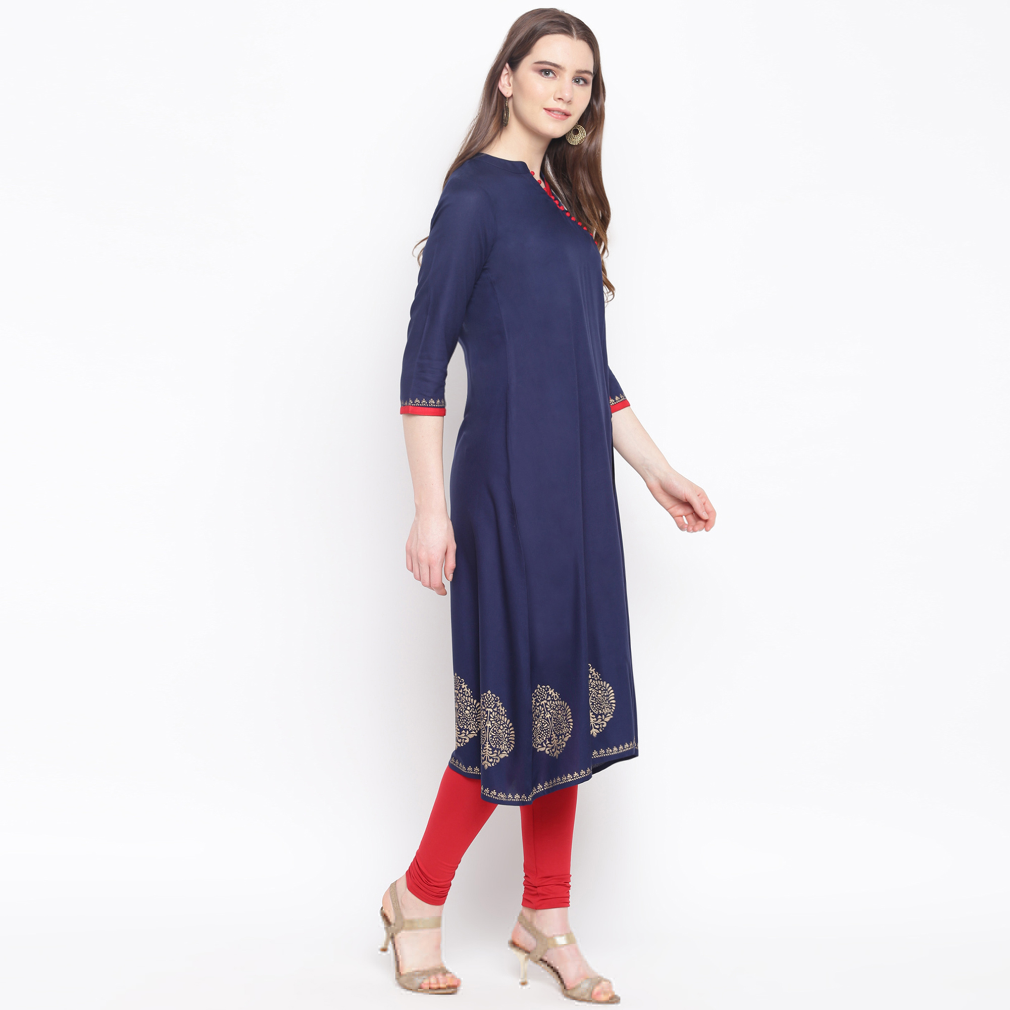 Jazzy Navy Blue Colored Casual Wear Printed Front Slit Calf Length Rayon Kurti