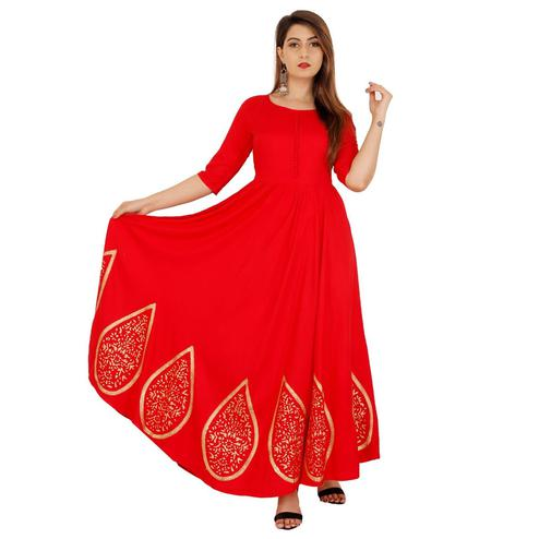 Engrossing Red Colored Casual Wear Printed Flared Ankle Length Rayon Kurti