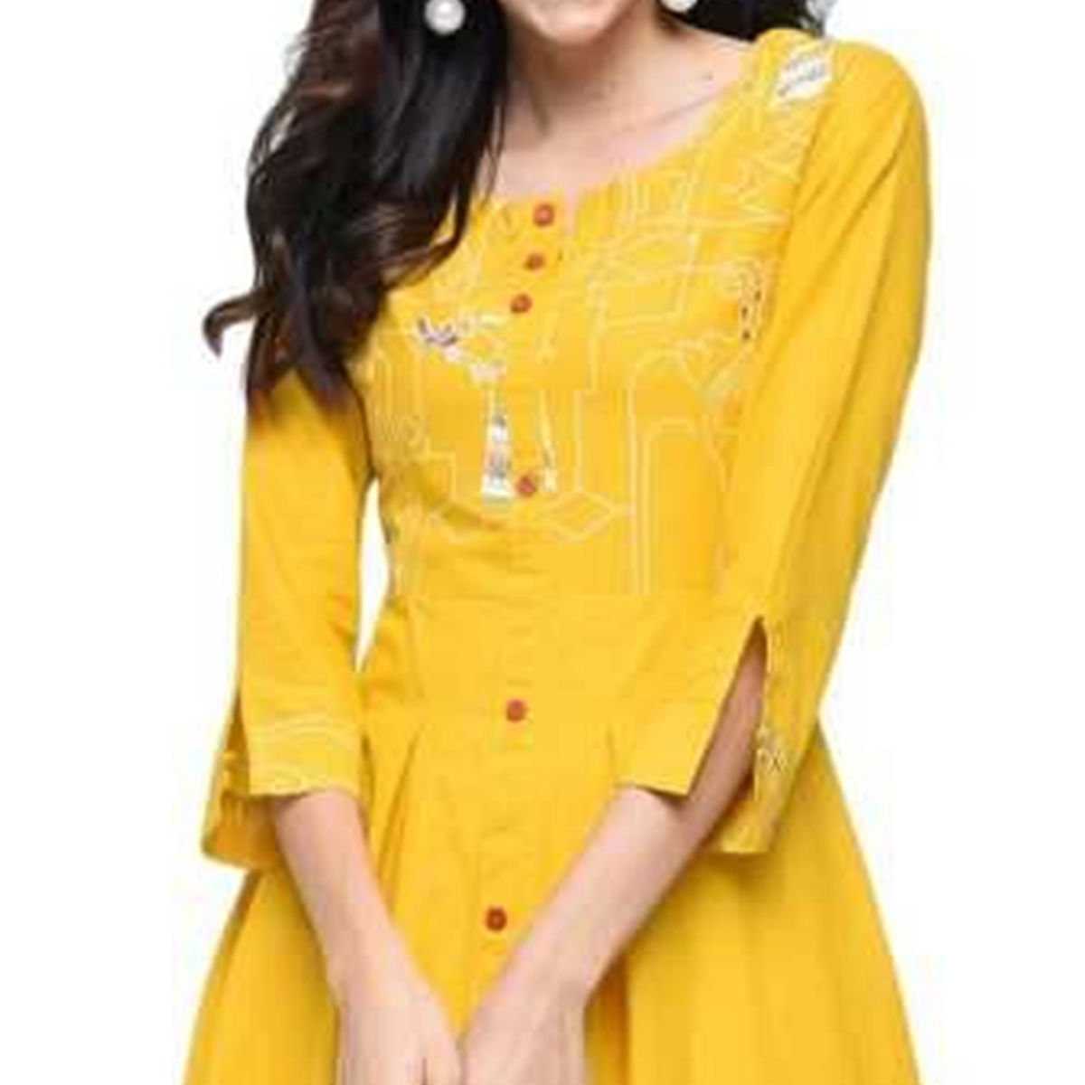 Ideal Mustard Yellow Colored Casual Wear Animal Printed A-Line Ankle Length Cotton Blend Kurti