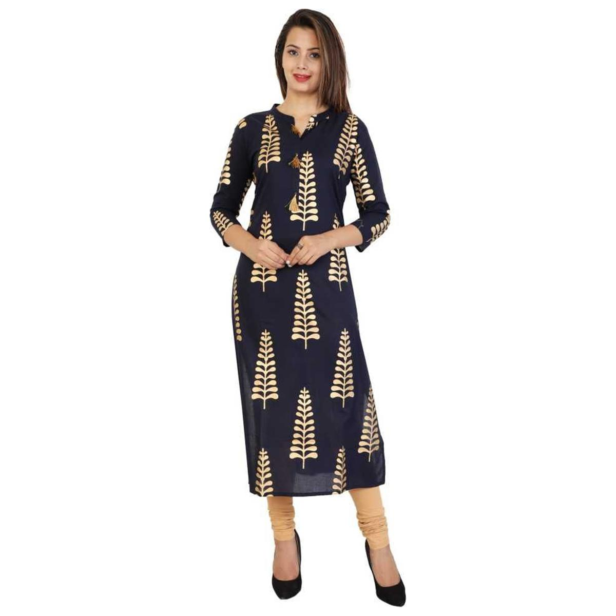 Imposing Navy Blue Colored Casual Wear Printed Straight Calf Length Cotton Blend Kurti