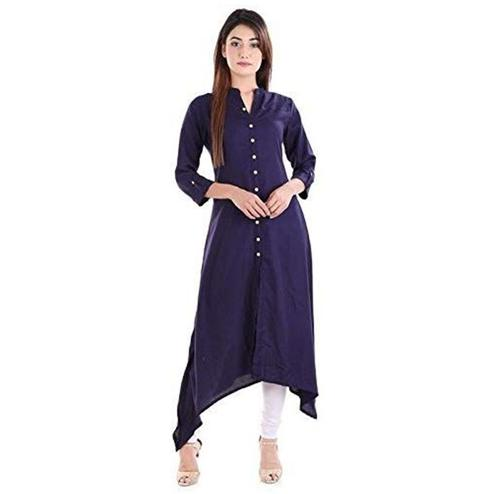 Majesty Navy Blue Colored Casual Wear Solid Asymmetric Calf Length Rayon Kurti