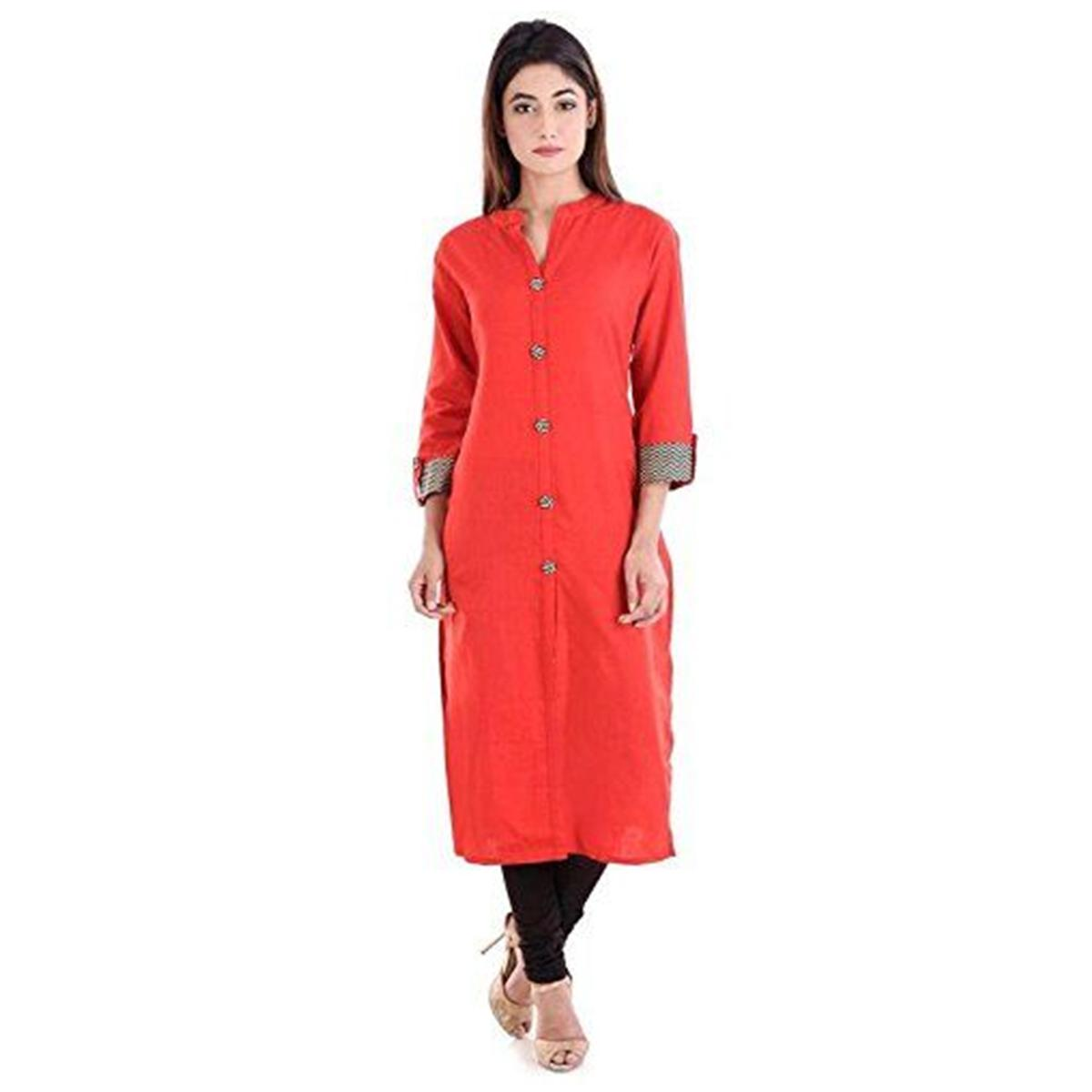 Ethnic Red Colored Casual Wear Solid Straight Calf Length Cotton Blend Kurti