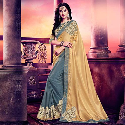 Grey - Golden Floral Patch Work Half Saree
