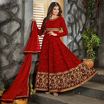 Dark Red Zari & Thread Embroidered Work Anarkali