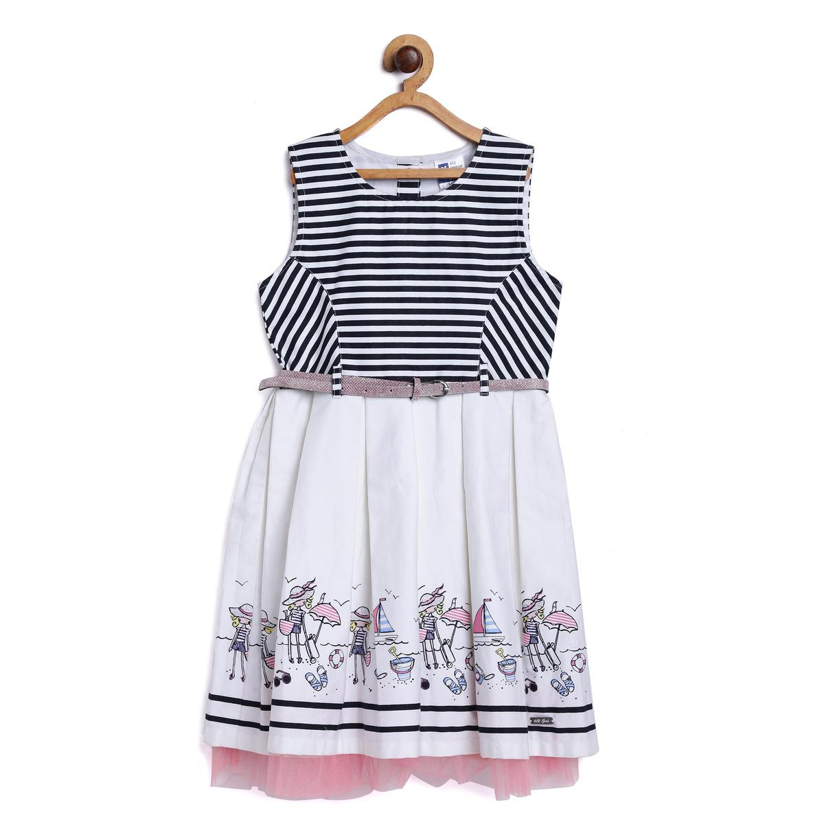 612 League - White Colored Striped With Belt Dress For Girls