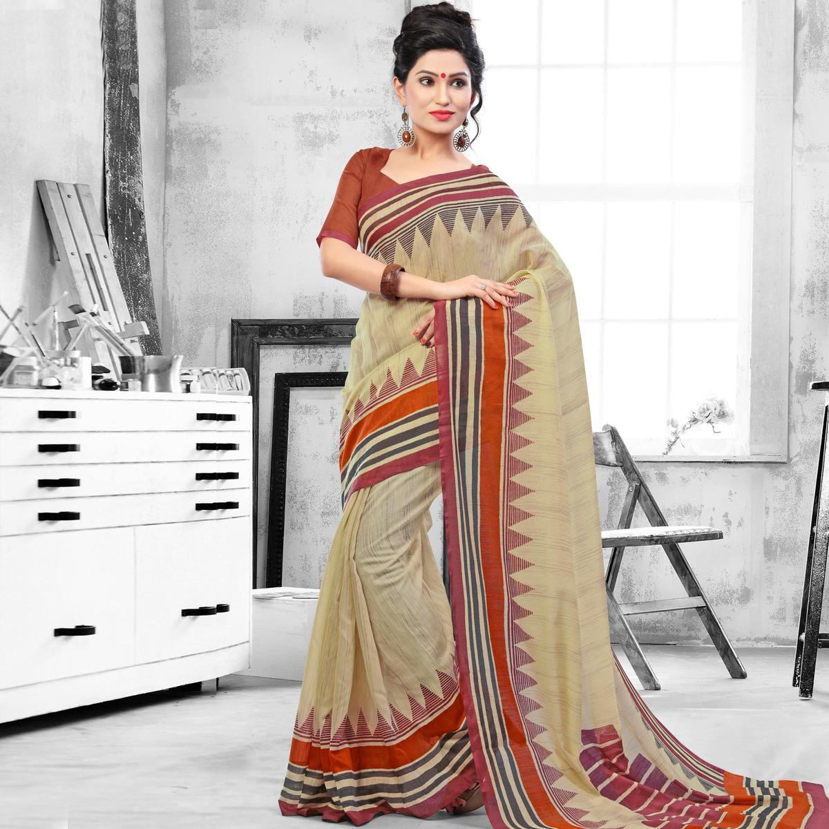 Cream Office Wear Printed Saree