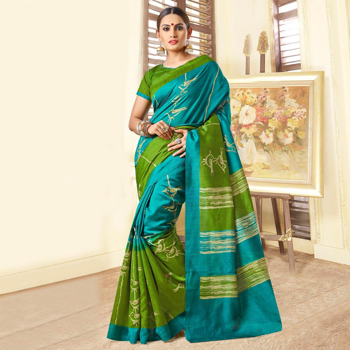fa691c163cf3f Buy Blue - Green Bhagalpuri Silk Saree online India