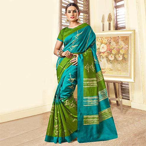 Blue - Green Bhagalpuri Silk Saree