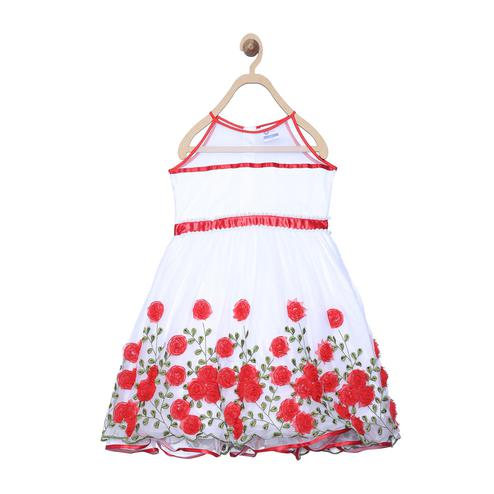 612 League - White Colored 3D Flower Dress For Girls