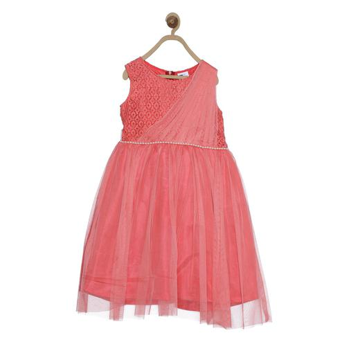 612 League - Pink Colored Net Dress For Girls