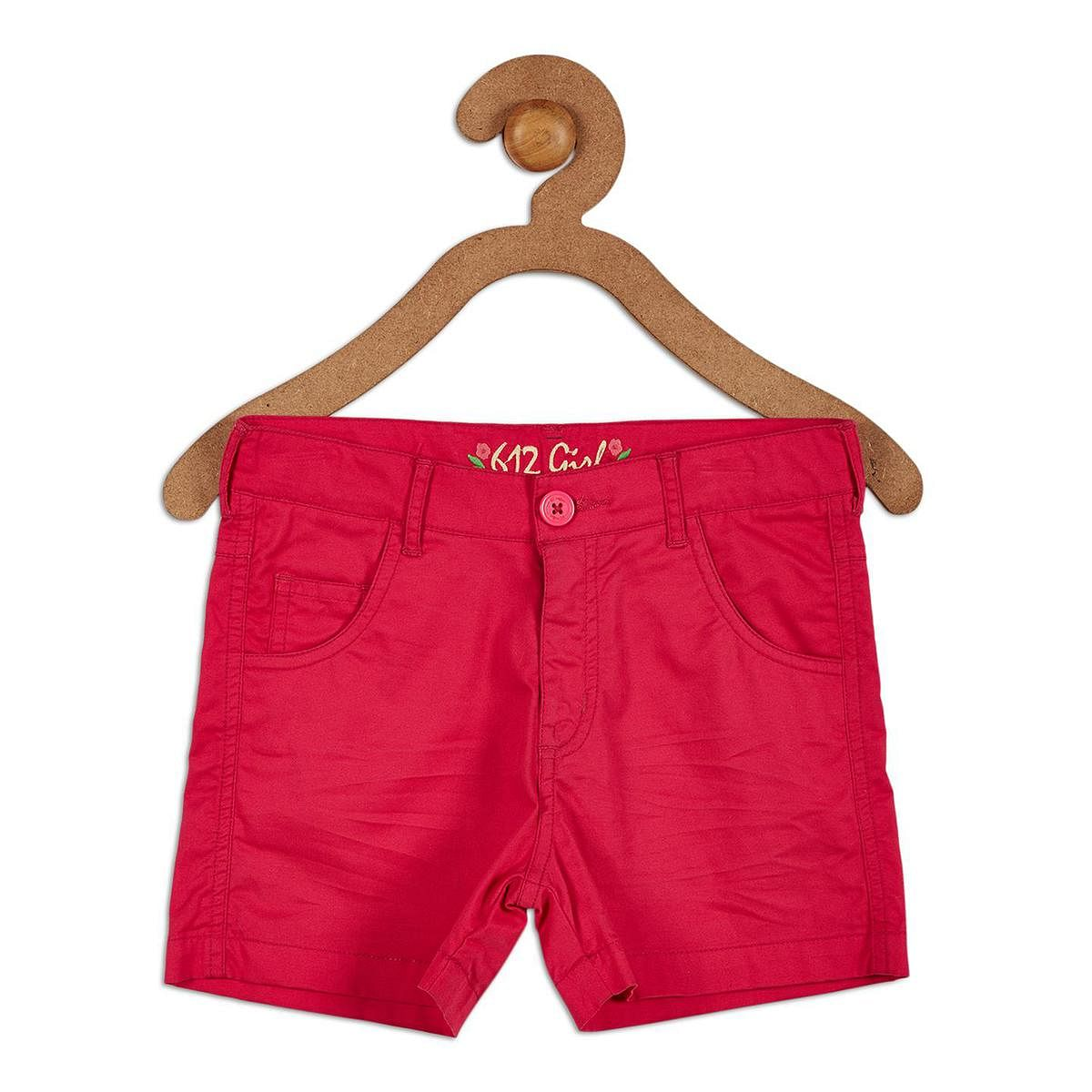 612 League - Pink Colored Solid Shorts For Girls