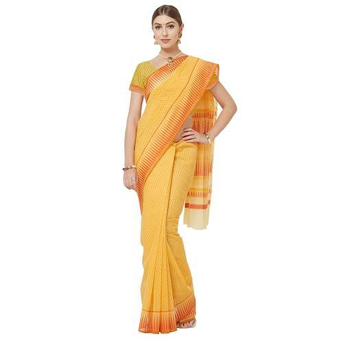 Glorious Yellow Colored Casual Wear Printed Cotton Blend Saree