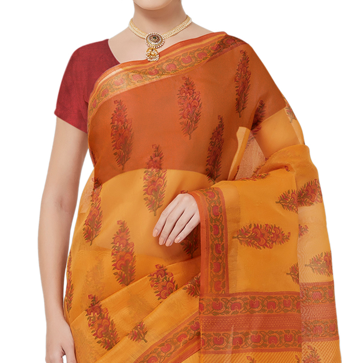 Attractive Mustard Yellow Colored Casual Wear Printed Cotton Blend Saree