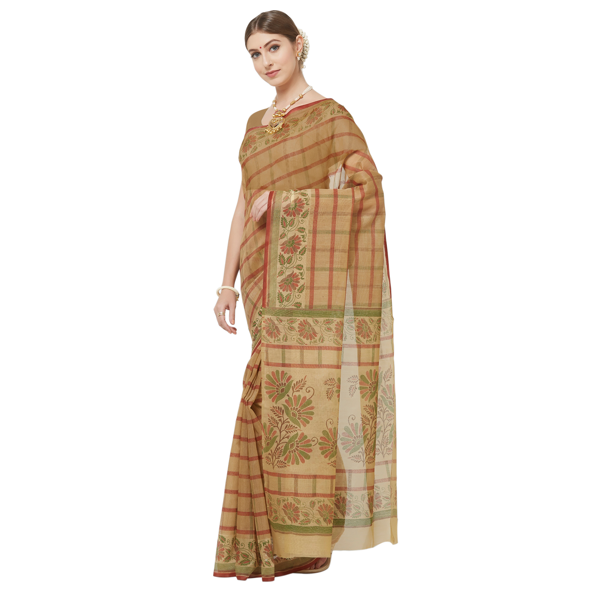 Beautiful Brown Colored Casual Wear Printed Cotton Blend Saree