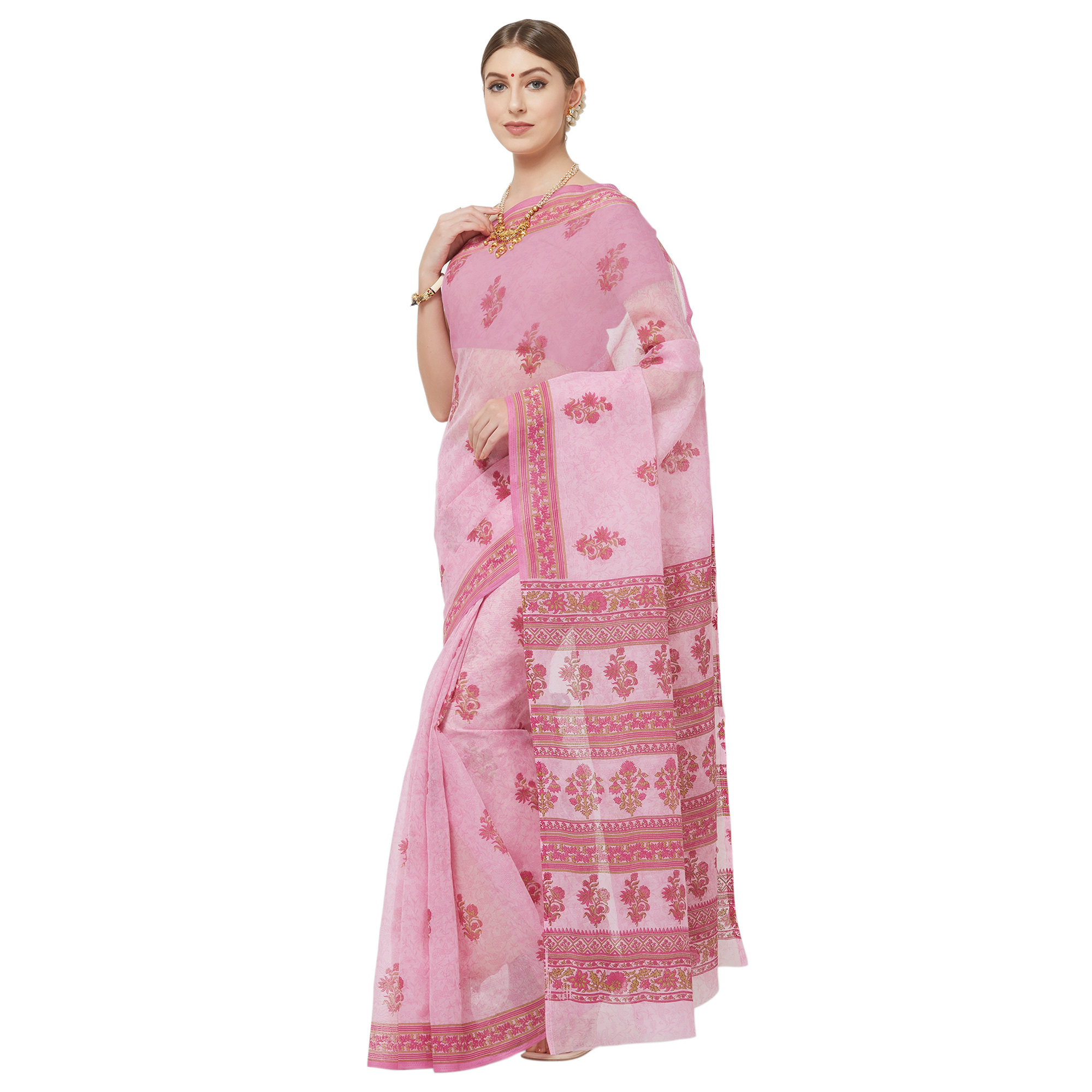 Graceful Light Pink Colored Casual Wear Printed Cotton Blend Saree