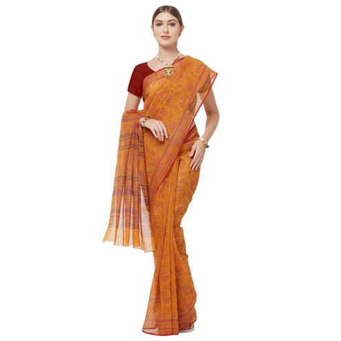 Blooming Mustard Yellow Colored Casual Wear Printed Cotton Blend Saree