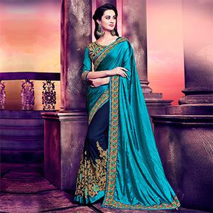 Navy Blue - Dark Cyan Half & Half Saree