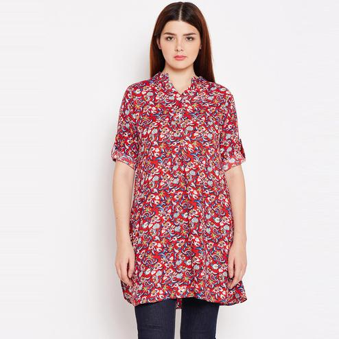 Arresting Red  Casual Wear Floral Printed Rayon Tunics
