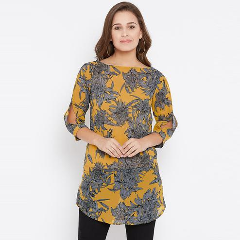 Desirable Mustard Yellow Color Casual Wear Prinrted Georgette Tunic