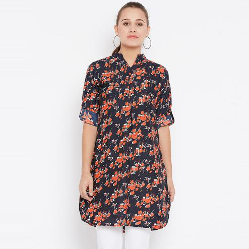 Exotic Navy Blue Color Casual Wear Floral Printed Crepe Tunic